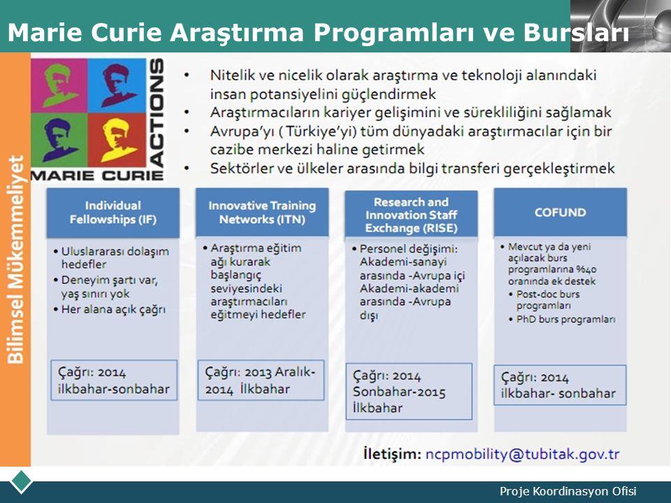 LOGO Marie Curie Araştırma Programları ve Bursları Proje Koordinasyon Ofisi
