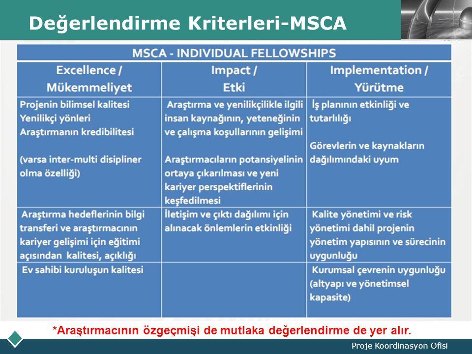 LOGO Değerlendirme Kriterleri-MSCA Proje Koordinasyon Ofisi *Araştırmacının özgeçmişi de mutlaka değerlendirme de yer alır.