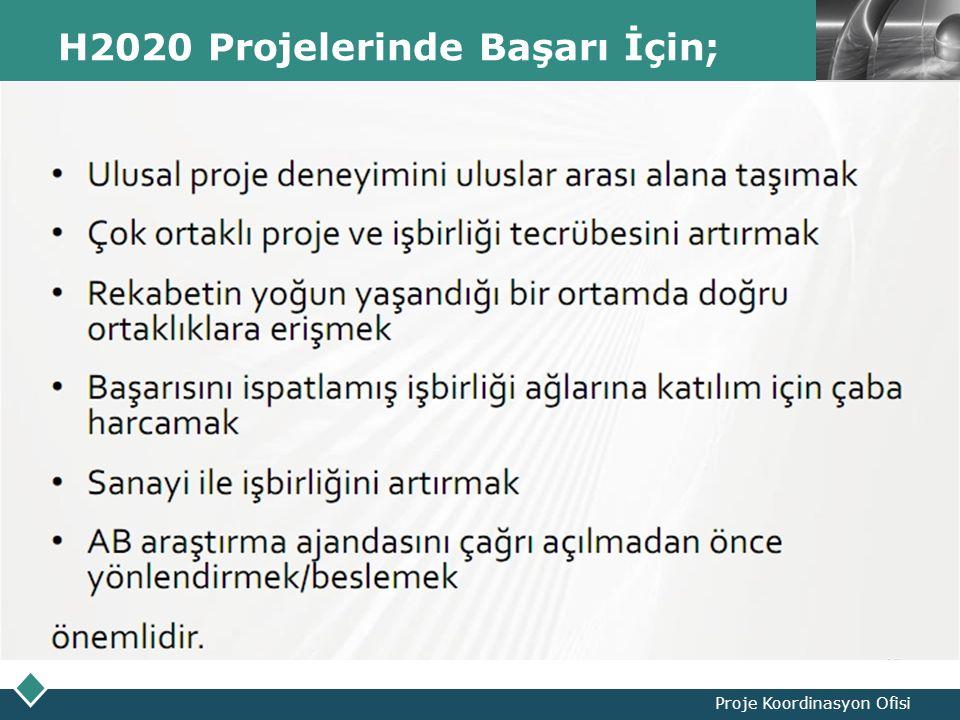 LOGO H2020 Projelerinde Başarı İçin; Proje Koordinasyon Ofisi