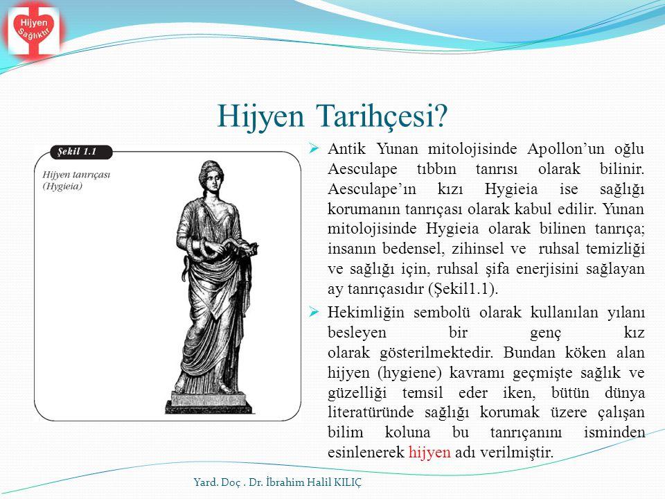 Hijyen Tarihçesi?  Antik Yunan mitolojisinde Apollon'un oğlu Aesculape tıbbın tanrısı olarak bilinir. Aesculape'ın kızı Hygieia ise sağlığı korumanın