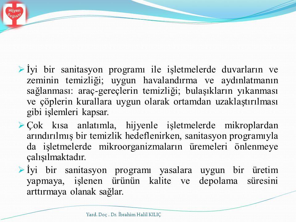 Yard. Doç. Dr. İbrahim Halil KILIÇ  İyi bir sanitasyon programı ile işletmelerde duvarların ve zeminin temizliği; uygun havalandırma ve aydınlatmanı