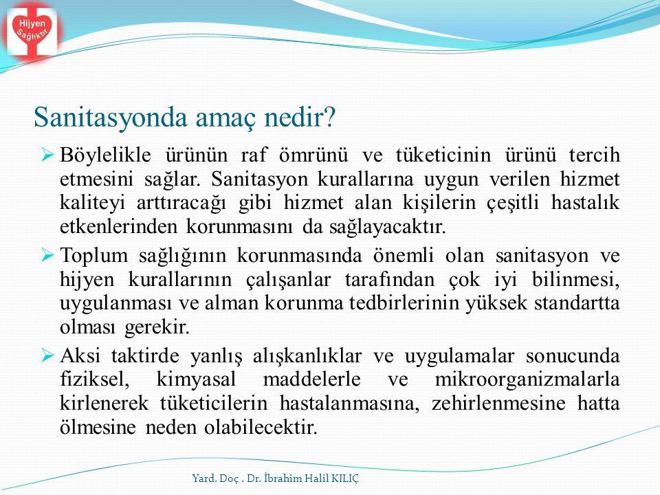 Sanitasyonda amaç nedir? Yard. Doç. Dr. İbrahim Halil KILIÇ  Böylelikle ürünün raf ömrünü ve tüketicinin ürünü tercih etmesini sağlar. Sanitasyon ku