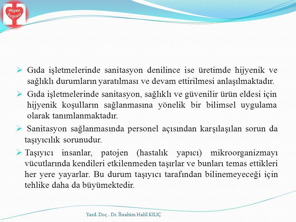 Yard. Doç. Dr. İbrahim Halil KILIÇ  Gıda işletmelerinde sanitasyon denilince ise üretimde hijyenik ve sağlıklı durumların yaratılması ve devam ettir