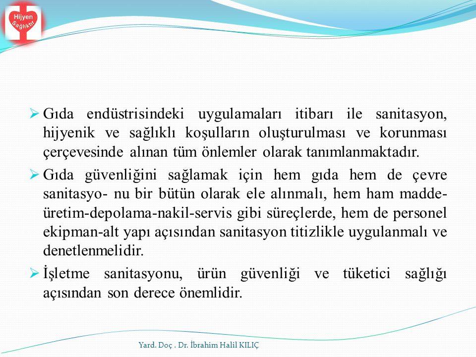 Yard. Doç. Dr. İbrahim Halil KILIÇ  Gıda endüstrisindeki uygulamaları itibarı ile sanitasyon, hijyenik ve sağlıklı koşulların oluşturulması ve korun