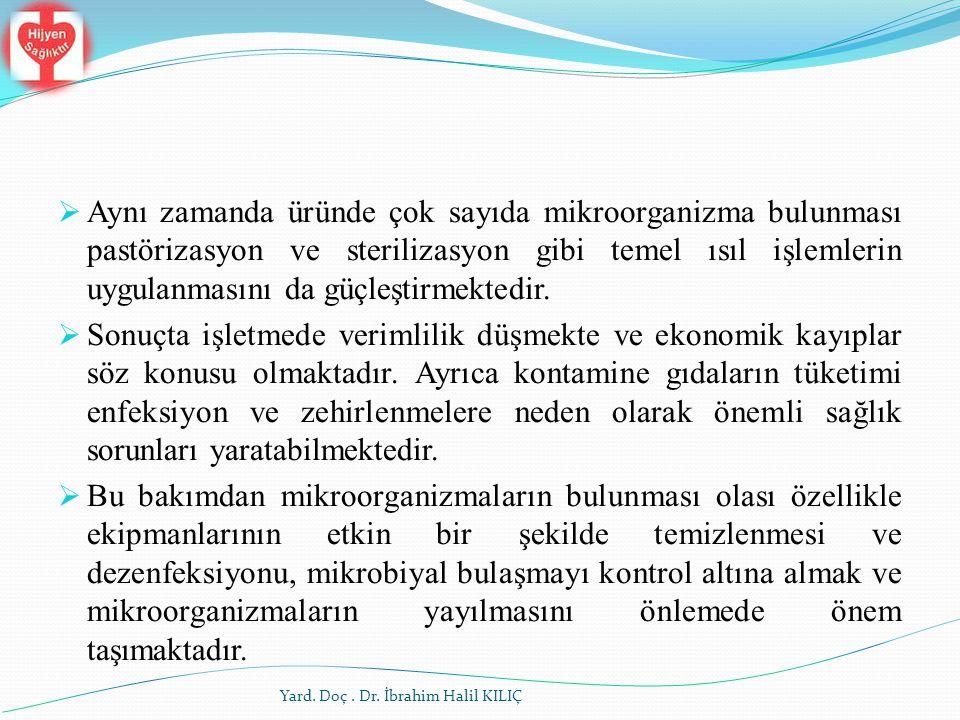 Yard. Doç. Dr. İbrahim Halil KILIÇ  Aynı zamanda üründe çok sayıda mikroorganizma bulunması pastörizasyon ve sterilizasyon gibi temel ısıl işlemlerin