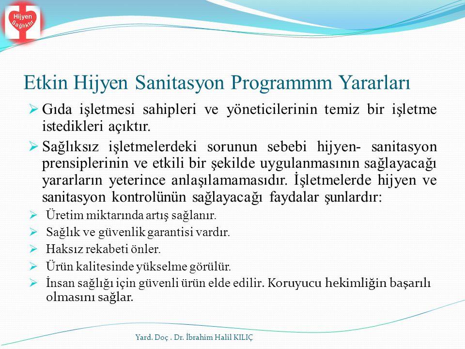 Etkin Hijyen Sanitasyon Programmm Yararları Yard. Doç. Dr. İbrahim Halil KILIÇ  Gıda işletmesi sahipleri ve yöneticilerinin temiz bir işletme istedik