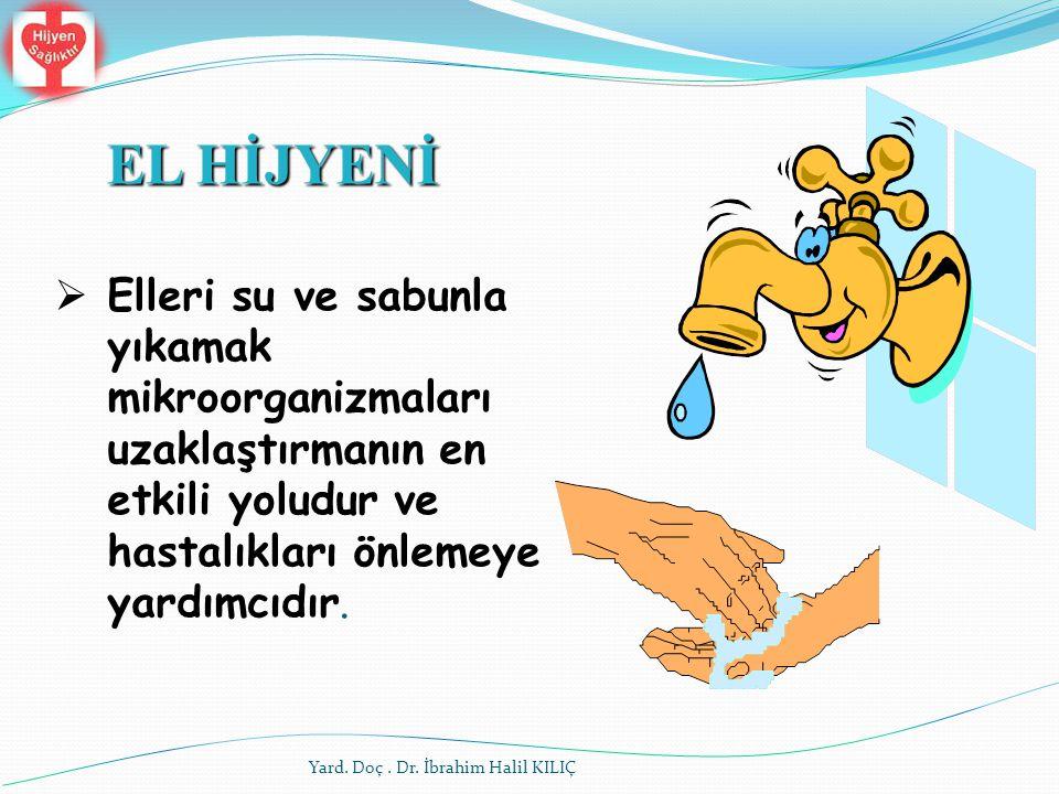  Elleri su ve sabunla yıkamak mikroorganizmaları uzaklaştırmanın en etkili yoludur ve hastalıkları önlemeye yardımcıdır. EL HİJYENİ Yard. Doç. Dr. İb
