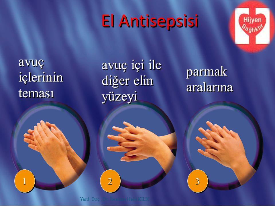 avuç içlerinin teması avuç içi ile diğer elin yüzeyi 112233 parmak aralarına El Antisepsisi Yard. Doç. Dr. İbrahim Halil KILIÇ