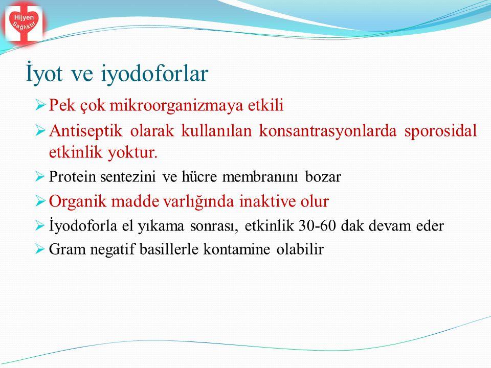 İyot ve iyodoforlar  Pek çok mikroorganizmaya etkili  Antiseptik olarak kullanılan konsantrasyonlarda sporosidal etkinlik yoktur.  Protein sentezin