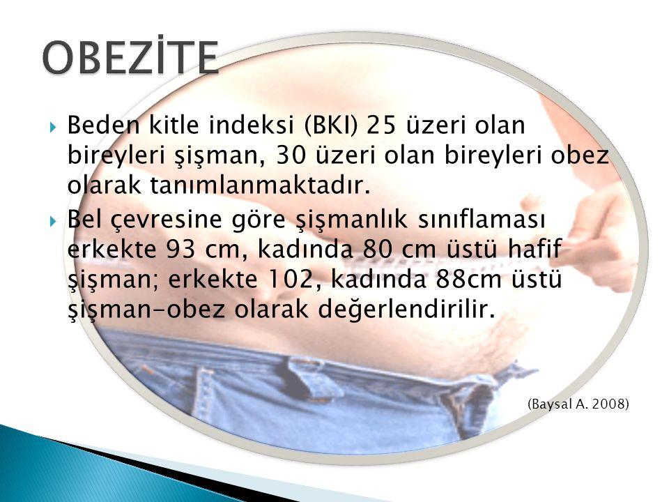  Beden kitle indeksi (BKI) 25 üzeri olan bireyleri şişman, 30 üzeri olan bireyleri obez olarak tanımlanmaktadır.  Bel çevresine göre şişmanlık sınıf