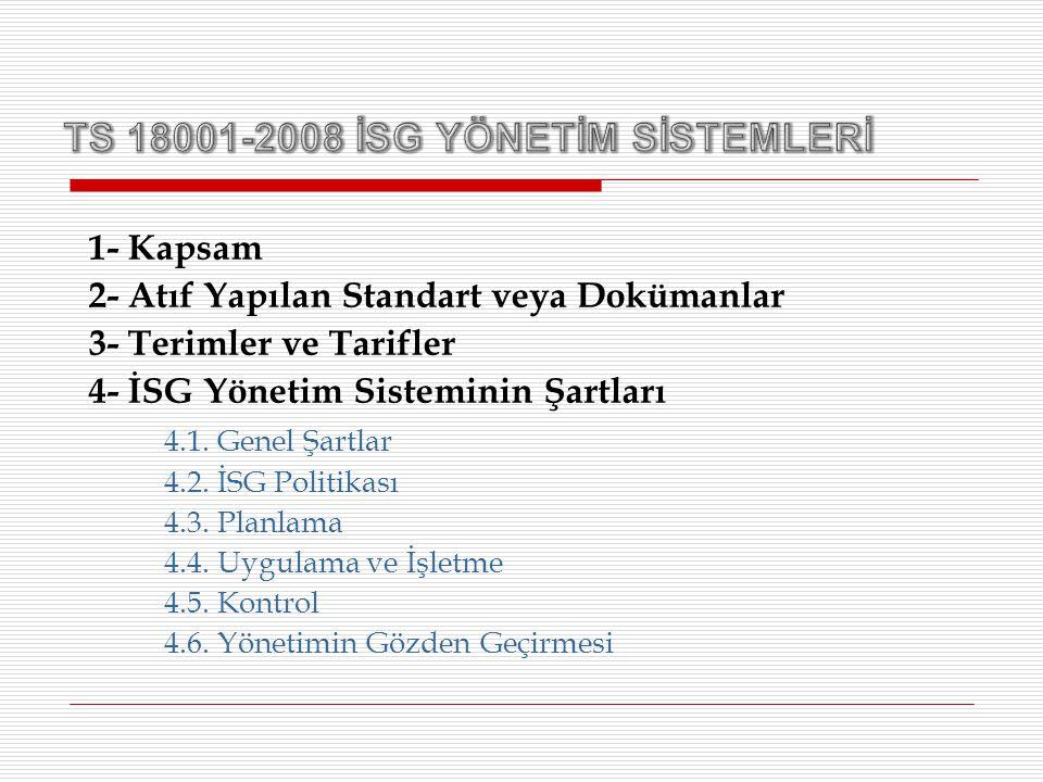 1- Kapsam 2- Atıf Yapılan Standart veya Dokümanlar 3- Terimler ve Tarifler 4- İSG Yönetim Sisteminin Şartları 4.1. Genel Şartlar 4.2. İSG Politikası 4
