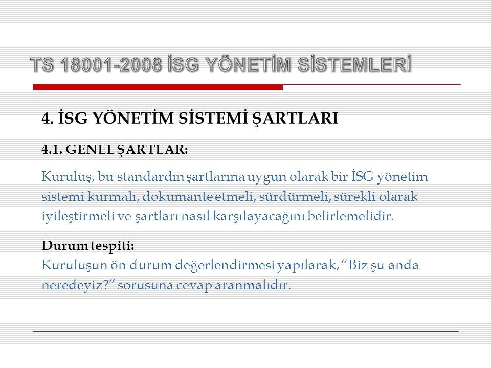 4. İSG YÖNETİM SİSTEMİ ŞARTLARI 4.1. GENEL ŞARTLAR: Kuruluş, bu standardın şartlarına uygun olarak bir İSG yönetim sistemi kurmalı, dokumante etmeli,