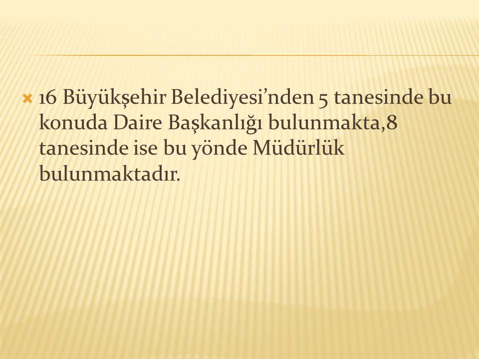  16 Büyükşehir Belediyesi'nden 5 tanesinde bu konuda Daire Başkanlığı bulunmakta,8 tanesinde ise bu yönde Müdürlük bulunmaktadır.