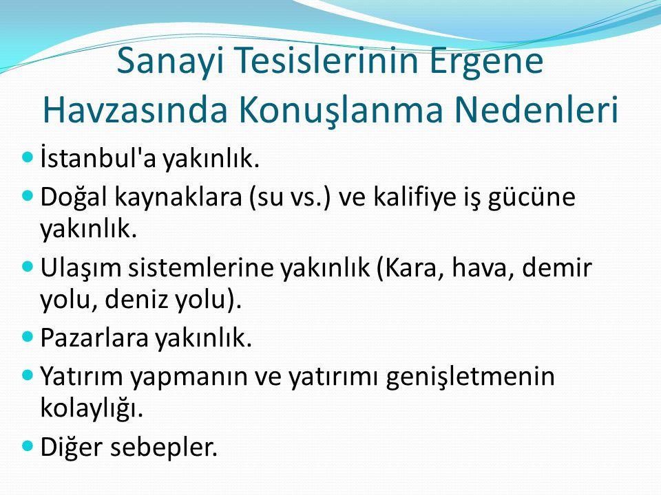 Sanayi Tesislerinin Ergene Havzasında Konuşlanma Nedenleri İstanbul'a yakınlık. Doğal kaynaklara (su vs.) ve kalifiye iş gücüne yakınlık. Ulaşım siste
