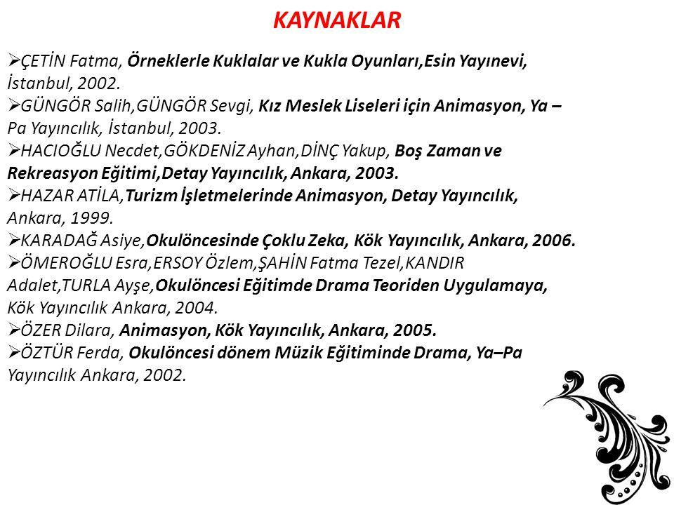 KAYNAKLAR  ÇETİN Fatma, Örneklerle Kuklalar ve Kukla Oyunları,Esin Yayınevi, İstanbul, 2002.  GÜNGÖR Salih,GÜNGÖR Sevgi, Kız Meslek Liseleri için An