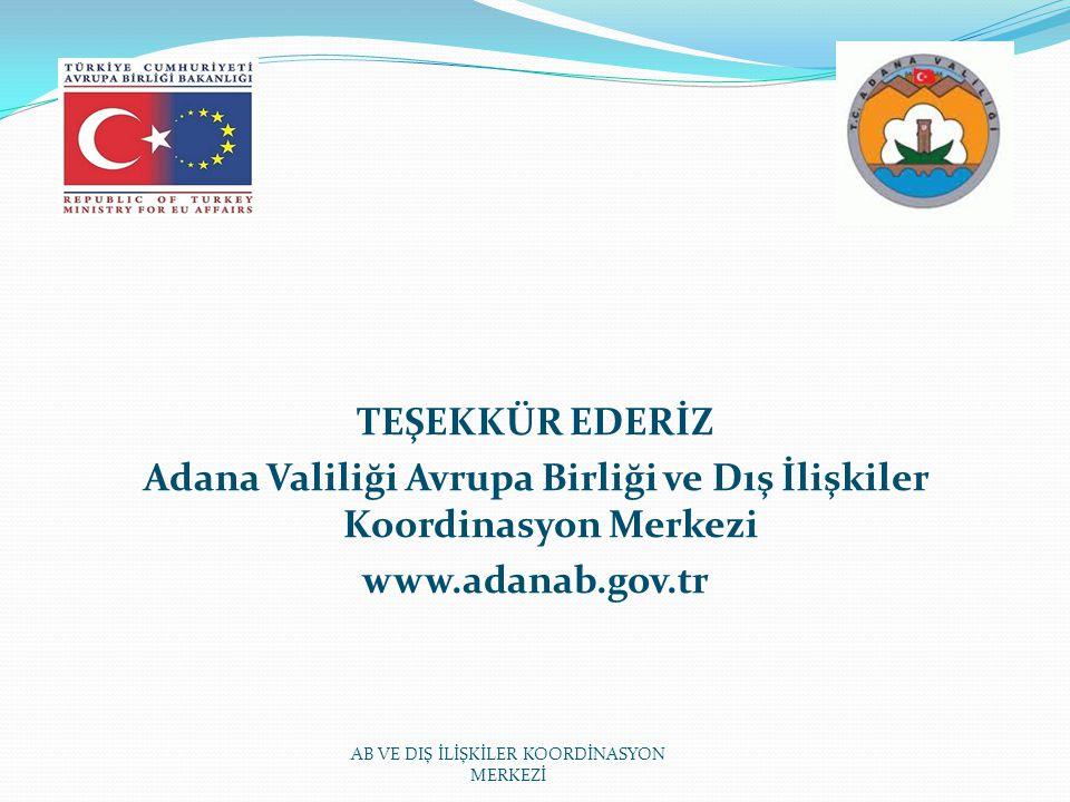 TEŞEKKÜR EDERİZ Adana Valiliği Avrupa Birliği ve Dış İlişkiler Koordinasyon Merkezi www.adanab.gov.tr AB VE DIŞ İLİŞKİLER KOORDİNASYON MERKEZİ