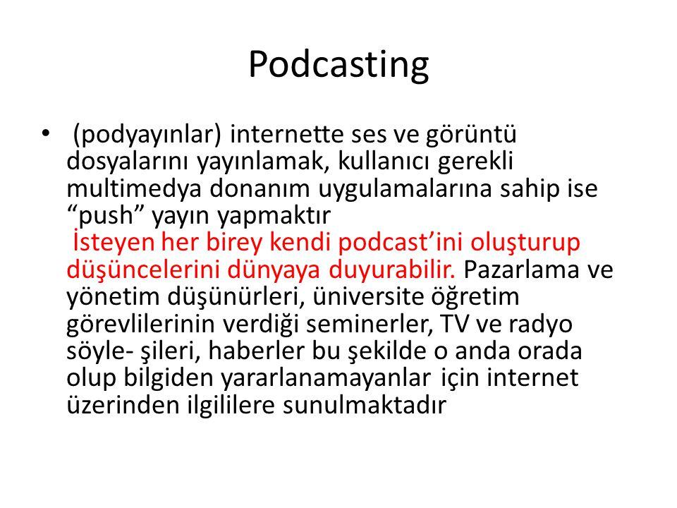 Podcasting (podyayınlar) internette ses ve görüntü dosyalarını yayınlamak, kullanıcı gerekli multimedya donanım uygulamalarına sahip ise push yayın yapmaktır İsteyen her birey kendi podcast'ini oluşturup düşüncelerini dünyaya duyurabilir.