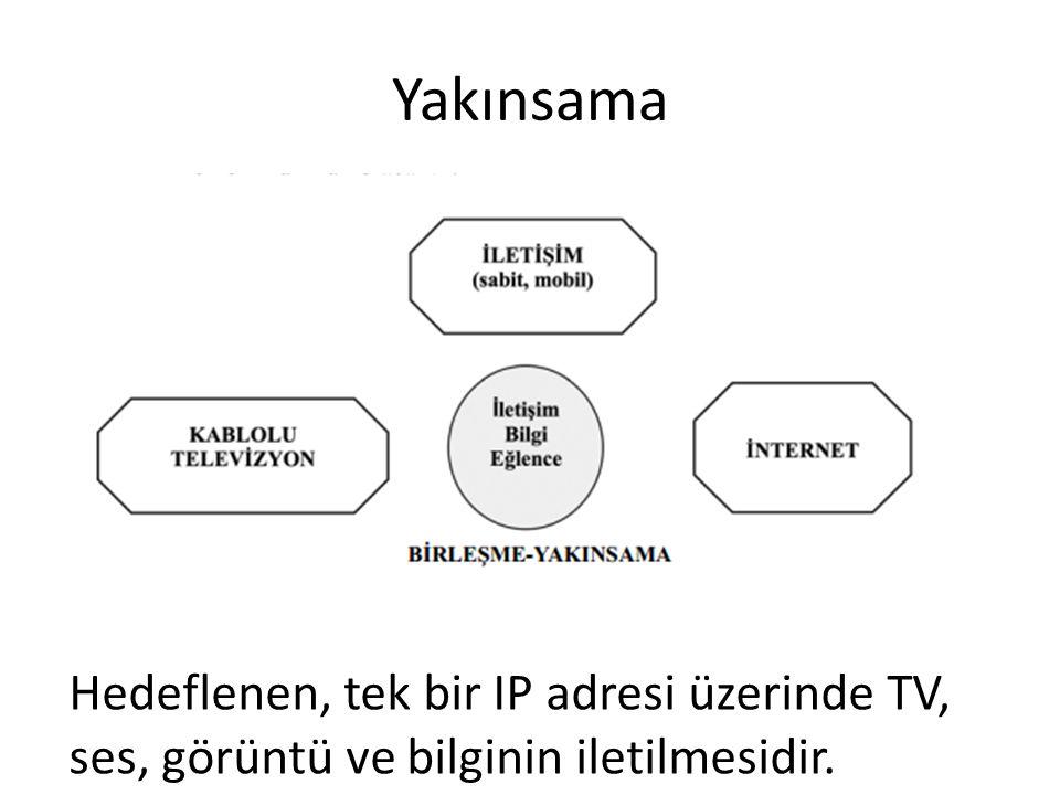 Yakınsama Hedeflenen, tek bir IP adresi üzerinde TV, ses, görüntü ve bilginin iletilmesidir.