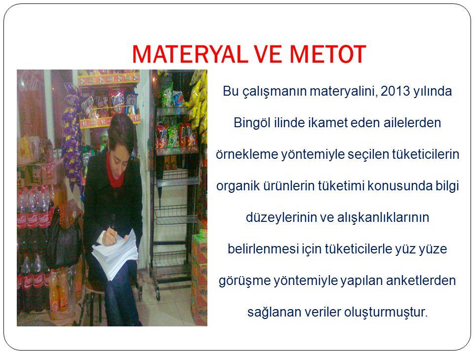 MATERYAL VE METOT Bu çalışmanın materyalini, 2013 yılında Bingöl ilinde ikamet eden ailelerden örnekleme yöntemiyle seçilen tüketicilerin organik ürün