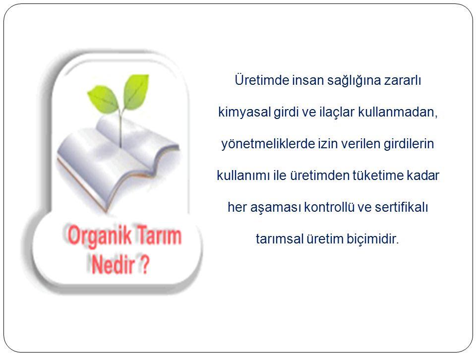  Organik Tarımın Amacı; Toprak ve su kaynakları ile havayı kirletmeden Çevre Bitki Hayvan ve insan saglıgını korumaktır.