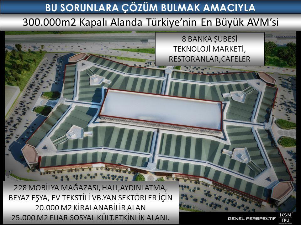 300.000m2 Kapalı Alanda Türkiye'nin En Büyük AVM'si 228 MOBİLYA MAĞAZASI, HALI,AYDINLATMA, BEYAZ EŞYA, EV TEKSTİLİ VB.YAN SEKTÖRLER İÇİN 20.000 M2 KİRALANABİLİR ALAN 25.000 M2 FUAR SOSYAL KÜLT.ETKİNLİK ALANI.