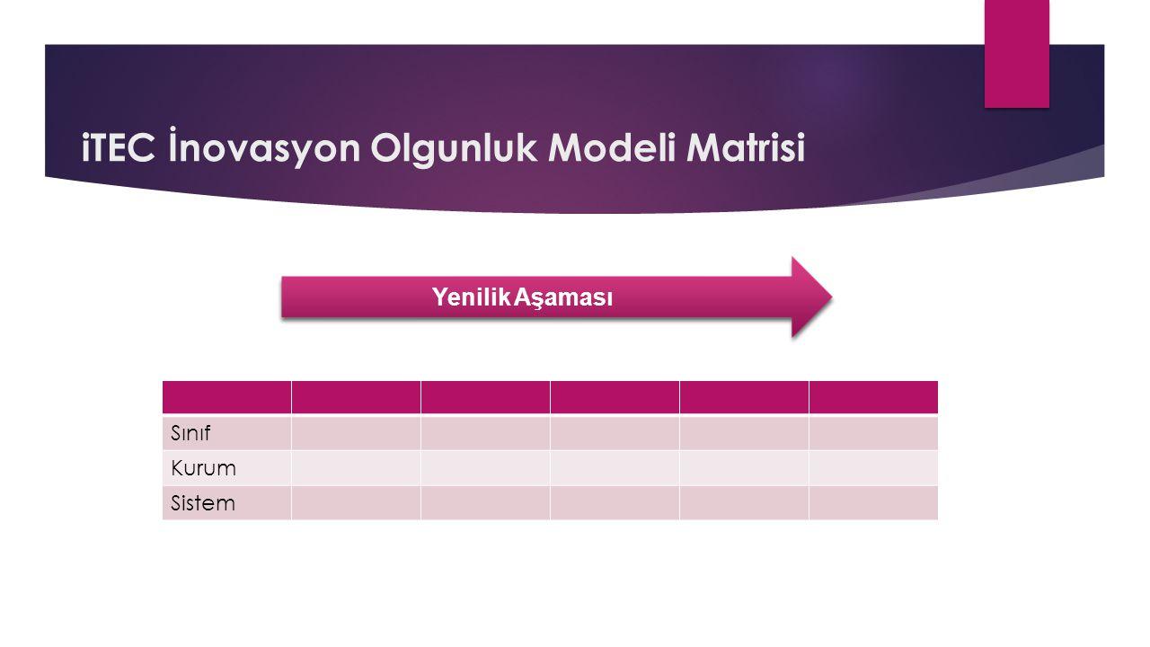 iTEC İnovasyon Olgunluk Modeli Matrisi Sınıf Kurum Sistem Yenilik Aşaması
