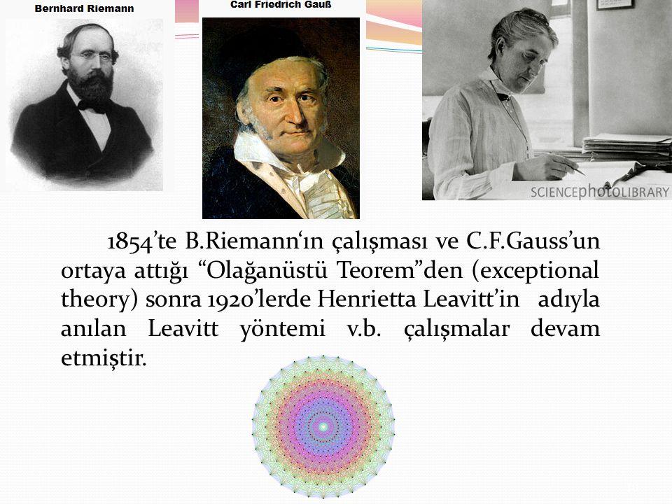 1854'te B.Riemann'ın çalışması ve C.F.Gauss'un ortaya attığı Olağanüstü Teorem den (exceptional theory) sonra 1920'lerde Henrietta Leavitt'in adıyla anılan Leavitt yöntemi v.b.