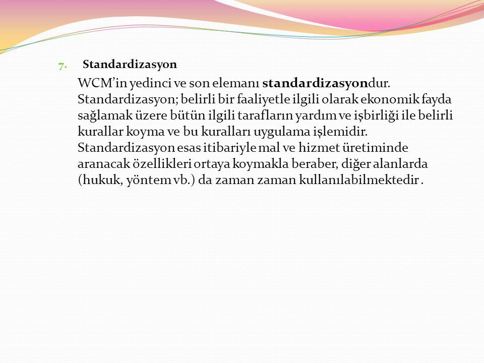 7.Standardizasyon WCM'in yedinci ve son elemanı standardizasyondur.
