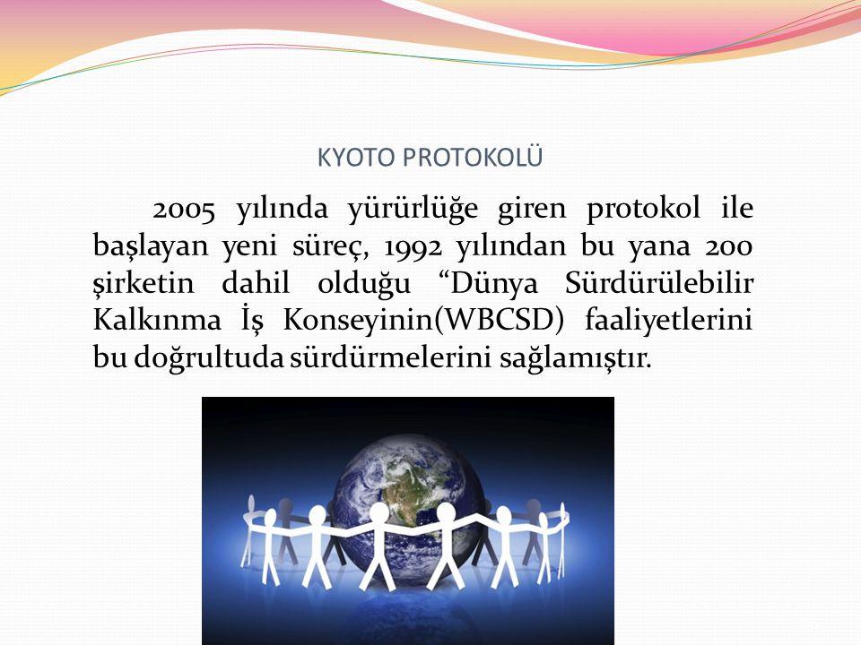 KYOTO PROTOKOLÜ 2005 yılında yürürlüğe giren protokol ile başlayan yeni süreç, 1992 yılından bu yana 200 şirketin dahil olduğu Dünya Sürdürülebilir Kalkınma İş Konseyinin(WBCSD) faaliyetlerini bu doğrultuda sürdürmelerini sağlamıştır.