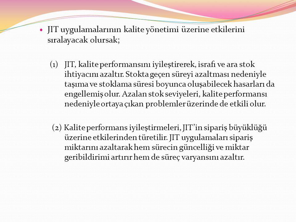 JIT uygulamalarının kalite yönetimi üzerine etkilerini sıralayacak olursak; (1) JIT, kalite performansını iyileştirerek, israfı ve ara stok ihtiyacını azaltır.