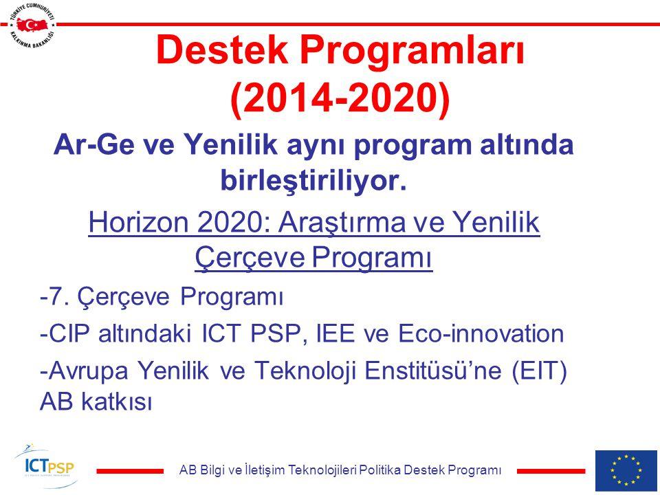 AB Bilgi ve İletişim Teknolojileri Politika Destek Programı Destek Programları (2014-2020) Ar-Ge ve Yenilik aynı program altında birleştiriliyor.