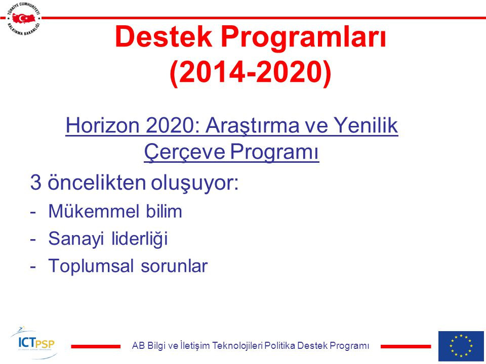 AB Bilgi ve İletişim Teknolojileri Politika Destek Programı Destek Programları (2014-2020) Horizon 2020: Araştırma ve Yenilik Çerçeve Programı 3 öncelikten oluşuyor: -Mükemmel bilim -Sanayi liderliği -Toplumsal sorunlar