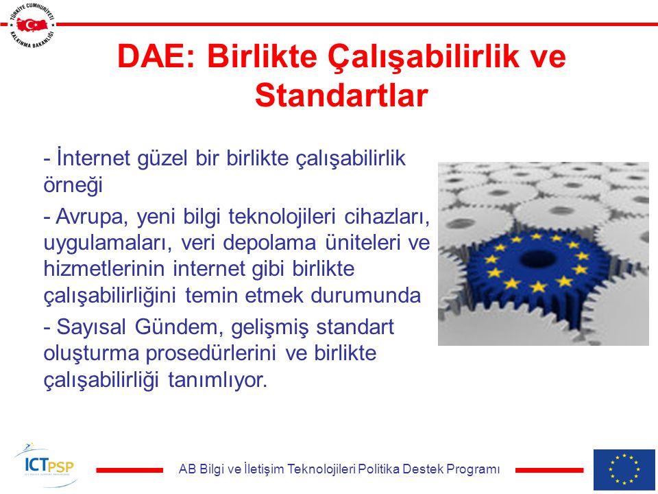 AB Bilgi ve İletişim Teknolojileri Politika Destek Programı DAE: Birlikte Çalışabilirlik ve Standartlar - İnternet güzel bir birlikte çalışabilirlik örneği - Avrupa, yeni bilgi teknolojileri cihazları, uygulamaları, veri depolama üniteleri ve hizmetlerinin internet gibi birlikte çalışabilirliğini temin etmek durumunda - Sayısal Gündem, gelişmiş standart oluşturma prosedürlerini ve birlikte çalışabilirliği tanımlıyor.