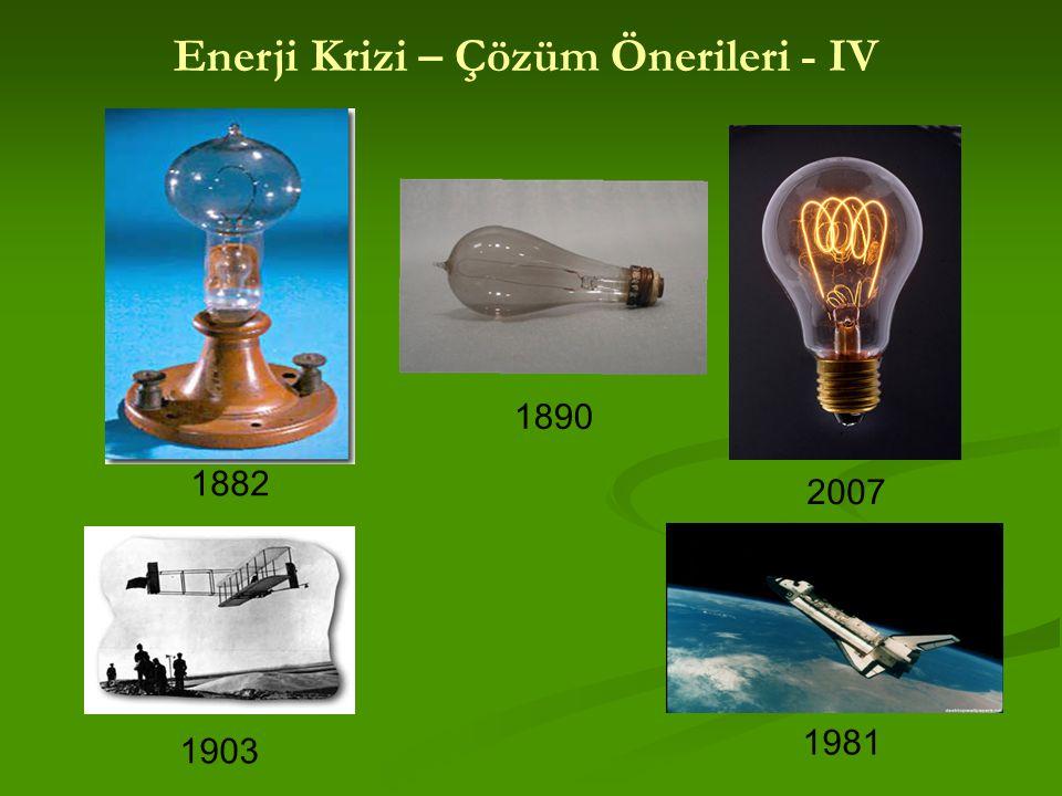 1882 1890 2007 1903 1981 Enerji Krizi – Çözüm Önerileri - IV