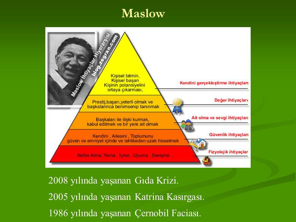 Maslow 2008 yılında yaşanan Gıda Krizi. 2005 yılında yaşanan Katrina Kasırgası. 1986 yılında yaşanan Çernobil Faciası.