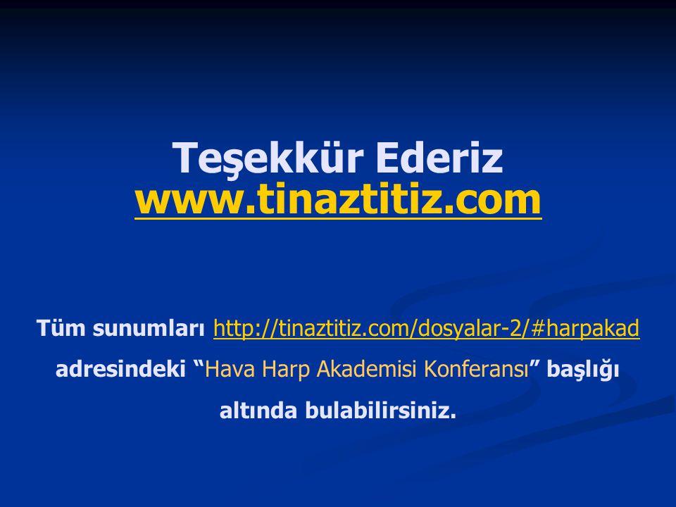 """Teşekkür Ederiz www.tinaztitiz.com Tüm sunumları http://tinaztitiz.com/dosyalar-2/#harpakad adresindeki """"Hava Harp Akademisi Konferansı"""" başlığı altın"""