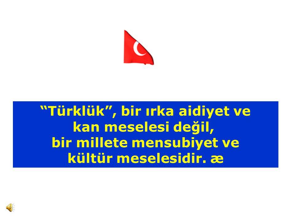 Türklük , bir ırka aidiyet ve kan meselesi değil, bir millete mensubiyet ve kültür meselesidir. æ