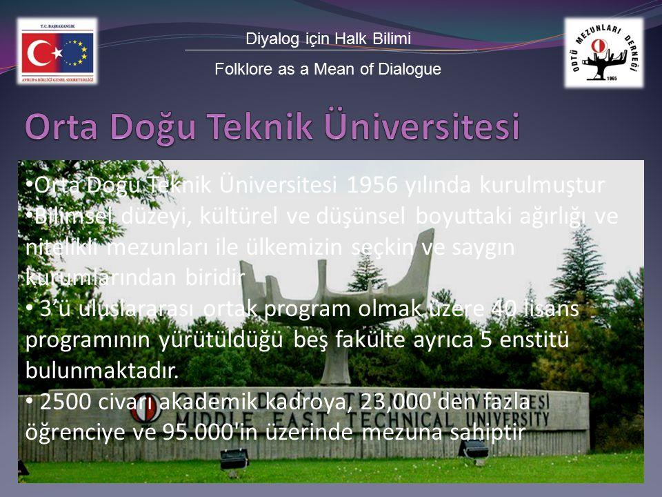 Diyalog için Halk Bilimi Folklore as a Mean of Dialogue Orta Doğu Teknik Üniversitesi 1956 yılında kurulmuştur Bilimsel düzeyi, kültürel ve düşünsel boyuttaki ağırlığı ve nitelikli mezunları ile ülkemizin seçkin ve saygın kurumlarından biridir 3'ü uluslararası ortak program olmak üzere 40 lisans programının yürütüldüğü beş fakülte ayrıca 5 enstitü bulunmaktadır.