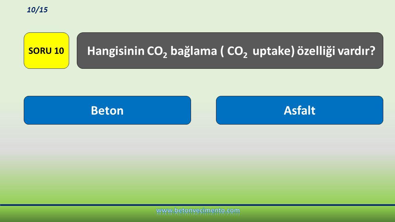 BetonAsfalt Hangisinin CO 2 bağlama ( CO 2 uptake) özelliği vardır? SORU 10 10/15