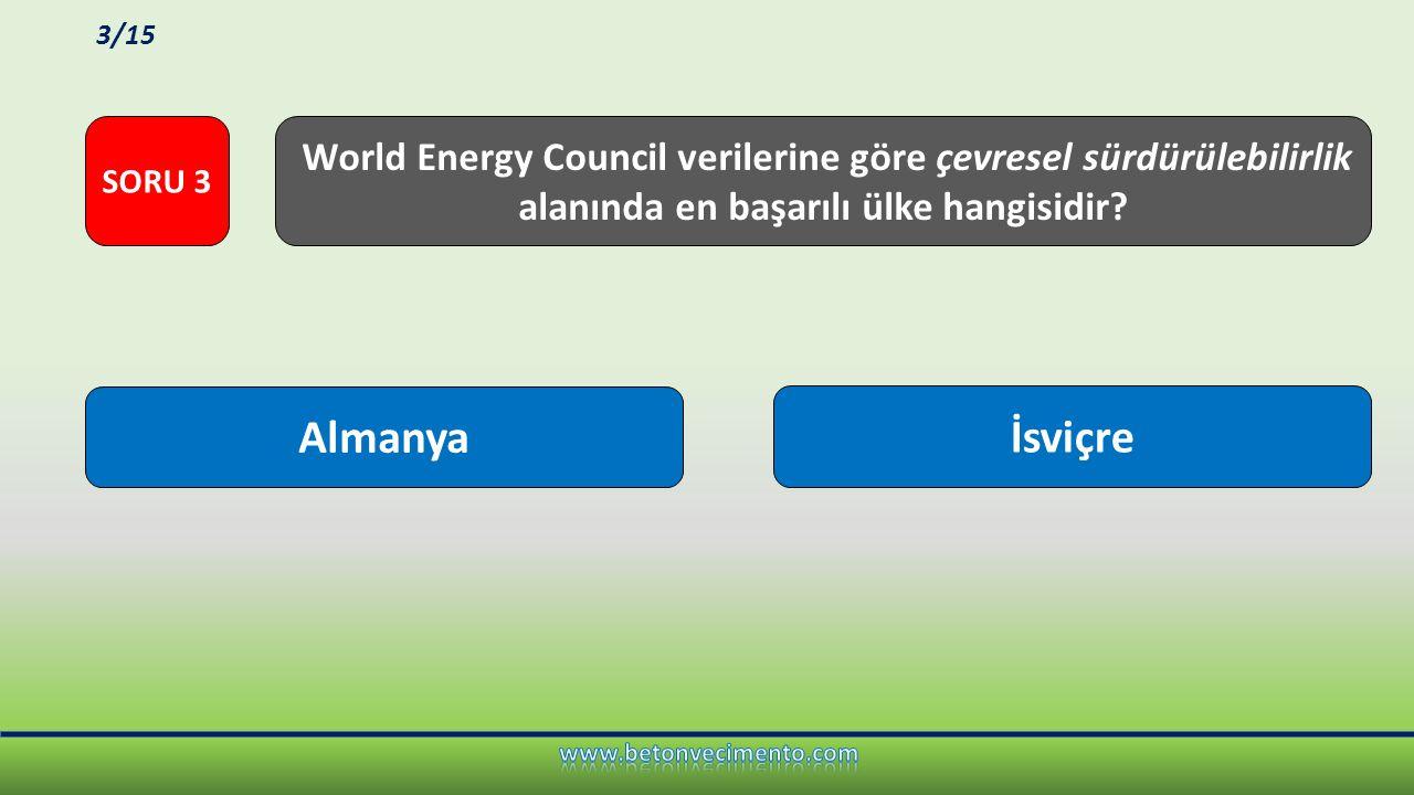6 ton 1 ton Türkiye'de kişi başı yıllık CO 2 emisyonu ne kadardır? SORU 4 4/15