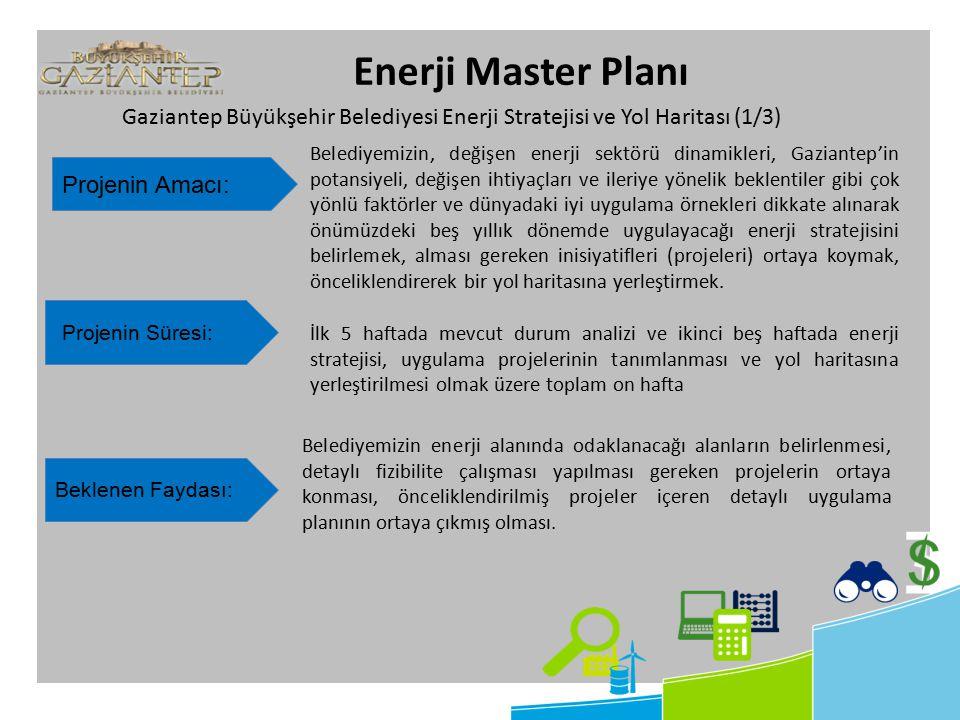 Enerji Master Planı Projenin Amacı: Belediyemizin, değişen enerji sektörü dinamikleri, Gaziantep'in potansiyeli, değişen ihtiyaçları ve ileriye yönelik beklentiler gibi çok yönlü faktörler ve dünyadaki iyi uygulama örnekleri dikkate alınarak önümüzdeki beş yıllık dönemde uygulayacağı enerji stratejisini belirlemek, alması gereken inisiyatifleri (projeleri) ortaya koymak, önceliklendirerek bir yol haritasına yerleştirmek.