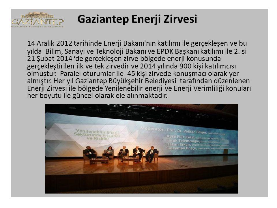 Gaziantep Enerji Zirvesi 14 Aralık 2012 tarihinde Enerji Bakanı nın katılımı ile gerçekleşen ve bu yılda Bilim, Sanayi ve Teknoloji Bakanı ve EPDK Başkanı katılımı ile 2.