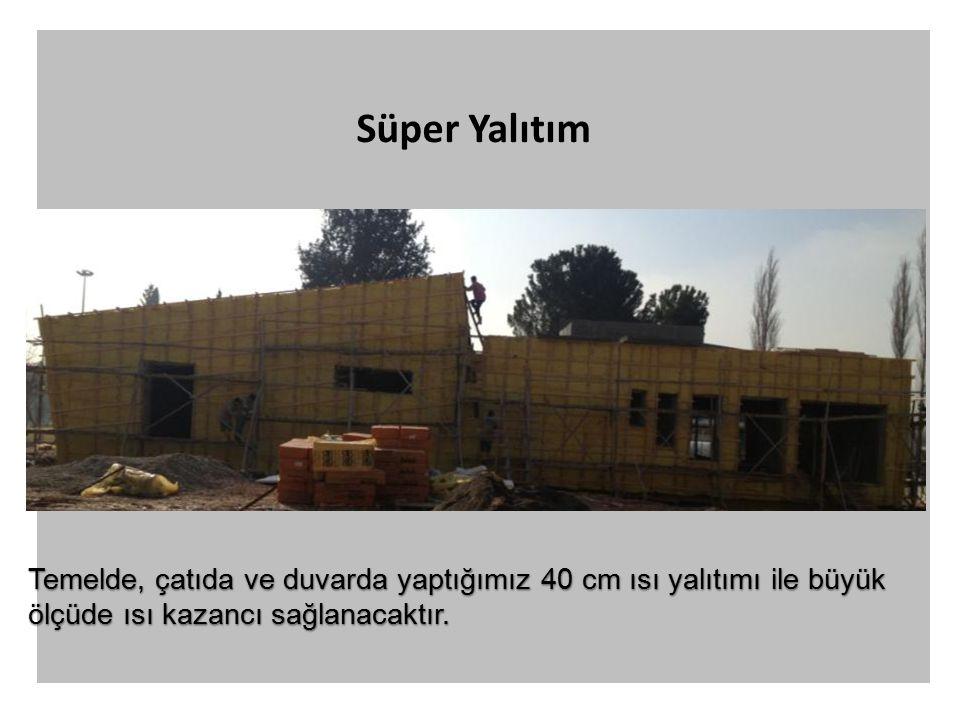 Süper Yalıtım Temelde, çatıda ve duvarda yaptığımız 40 cm ısı yalıtımı ile büyük ölçüde ısı kazancı sağlanacaktır.