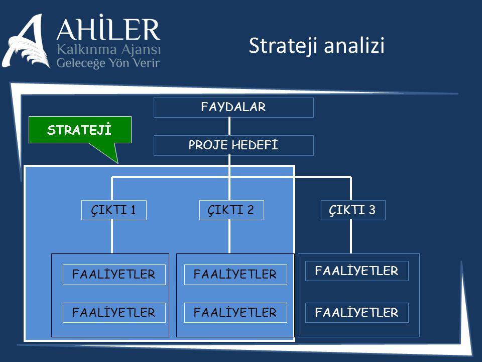 Strateji analizi FAYDALAR PROJE HEDEFİ ÇIKTI 1ÇIKTI 2ÇIKTI 3 FAALİYETLER STRATEJİ
