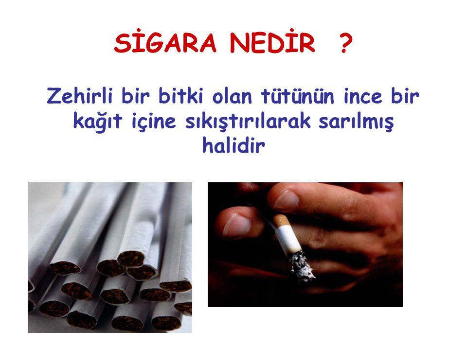 Sigara dumanında vücudumuz için zararlı 4.000'den fazla madde bulunur En tehlikeli maddeler NİKOTİN KARBONMONOKSİT KATRAN