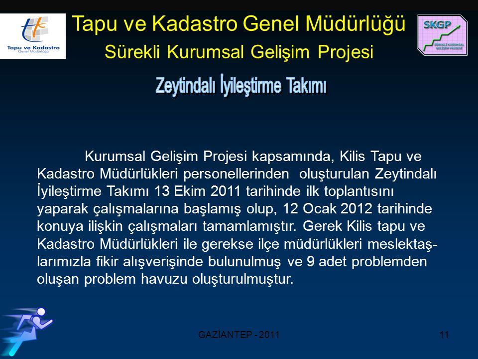 GAZİANTEP - 201111 Kurumsal Gelişim Projesi kapsamında, Kilis Tapu ve Kadastro Müdürlükleri personellerinden oluşturulan Zeytindalı İyileştirme Takımı 13 Ekim 2011 tarihinde ilk toplantısını yaparak çalışmalarına başlamış olup, 12 Ocak 2012 tarihinde konuya ilişkin çalışmaları tamamlamıştır.