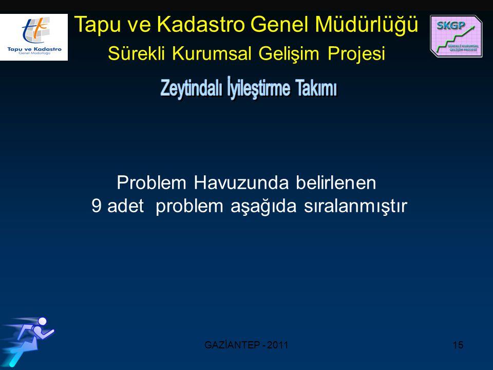GAZİANTEP - 201115 Tapu ve Kadastro Genel Müdürlüğü Sürekli Kurumsal Gelişim Projesi Problem Havuzunda belirlenen 9 adet problem aşağıda sıralanmıştır