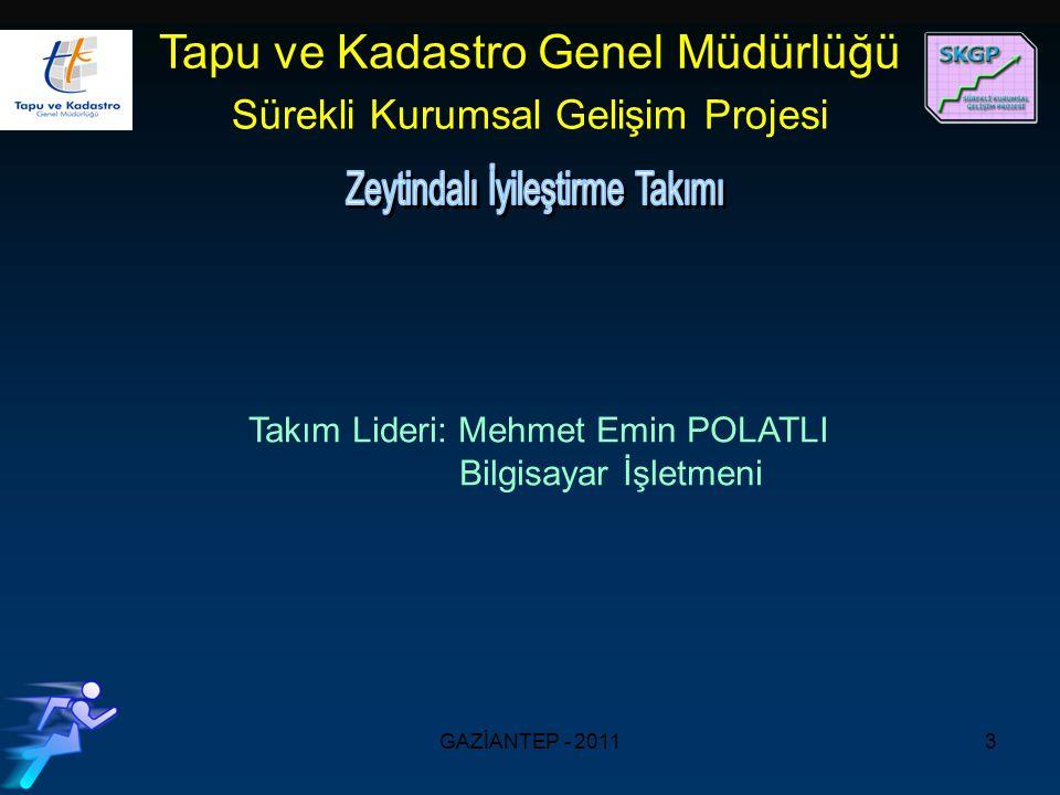 GAZİANTEP - 20113 Takım Lideri: Mehmet Emin POLATLI Bilgisayar İşletmeni Tapu ve Kadastro Genel Müdürlüğü Sürekli Kurumsal Gelişim Projesi