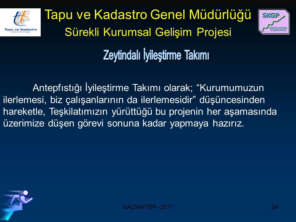 GAZİANTEP - 201134 Tapu ve Kadastro Genel Müdürlüğü Sürekli Kurumsal Gelişim Projesi Antepfıstığı İyileştirme Takımı olarak; Kurumumuzun ilerlemesi, biz çalışanlarının da ilerlemesidir düşüncesinden hareketle, Teşkilatımızın yürüttüğü bu projenin her aşamasında üzerimize düşen görevi sonuna kadar yapmaya hazırız.