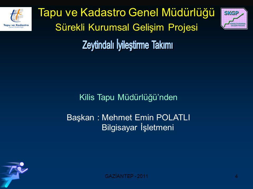 GAZİANTEP - 20114 Kilis Tapu Müdürlüğü'nden Başkan : Mehmet Emin POLATLI Bilgisayar İşletmeni Tapu ve Kadastro Genel Müdürlüğü Sürekli Kurumsal Gelişim Projesi